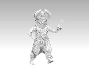 Pirate Cartoon modelled in Zbrush