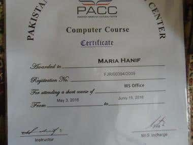 this is my Ms. office certificate