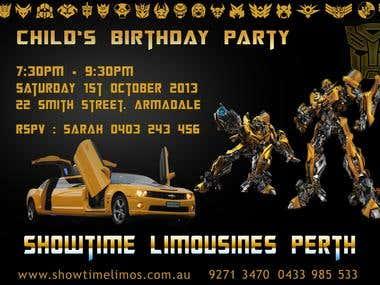 Showtime Limounise Pert Child's Birthday Card