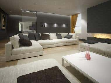 Design and Renders for a Living Room
