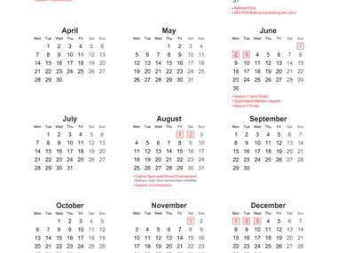 Cairns Squash - Year Calendar Poster Design