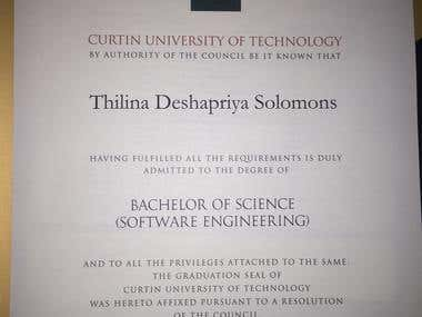 My BSc. in Software Engineering Degree certificate
