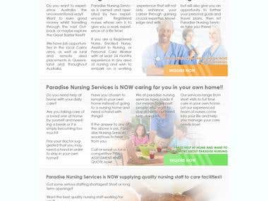 Paradise Nursing Services - Website Design