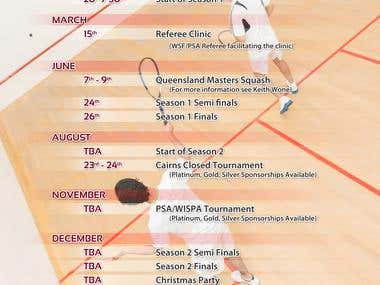 Cairns Squash - Events Calendar Poster Design