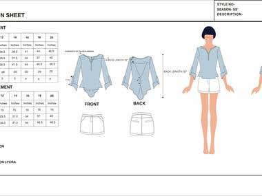 Garment technical sheet