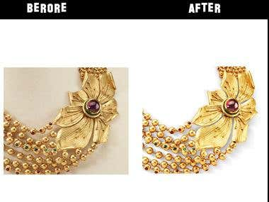 Jewelry retouching, remove background, color correction