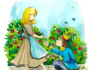 Cinderella watercolor book illustration