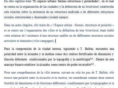 Traducción de una tesis de arqueología español / francés