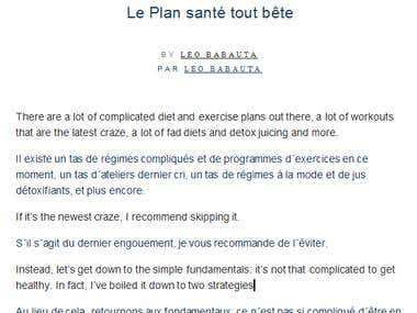 Translation of a blog article from English into French