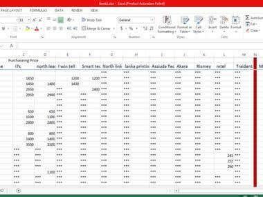 Excel  Data entry