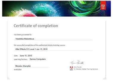 Adobe After Effects CC- Certificate of completion