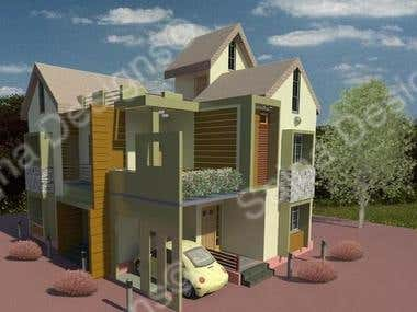Exterior design of a 2 storeyed residential house.