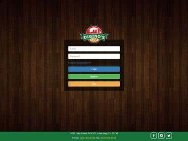 Login on Pizza Store
