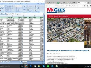Web Search , Data Mining work in Spread Sheet, Excel