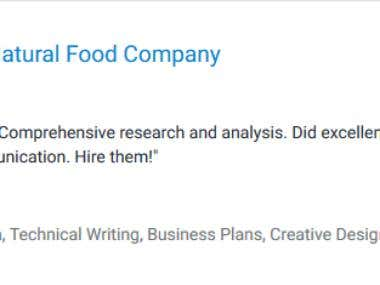 Business Plan for Natural Food Company