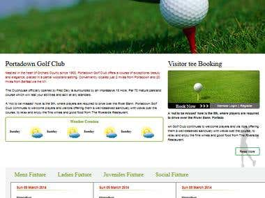 Website Build from scratch for  the Golf Club