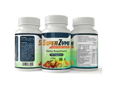 Winning Entry : Label design for Enzyme Supplement Bottle
