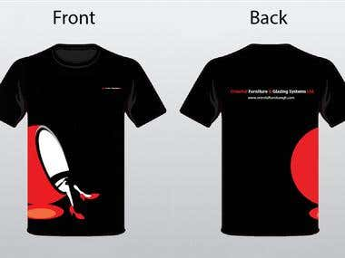 T shirt design for a furniture manufacturing company