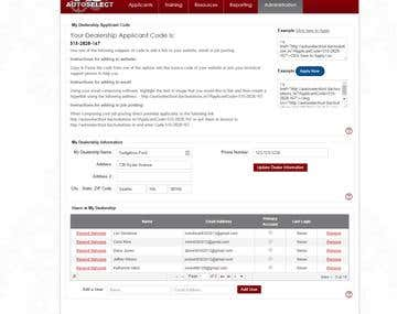 Auto dealer recruiting portal
