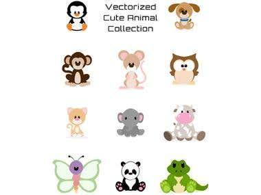 Cute Animal Vectors(Adobe Illustrator)