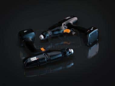 3D Product Renders - Black & Decker Drill