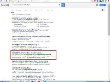 Google 1st Page Position for Target Keyword