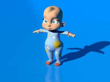 3D baby model for animation.
