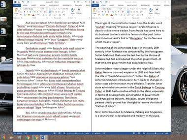 Translation Malay to English: History of Johor Malaysia