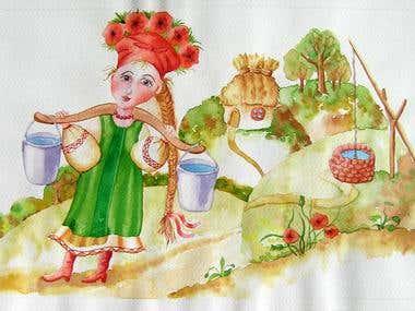 Ukrainian style, watercolor