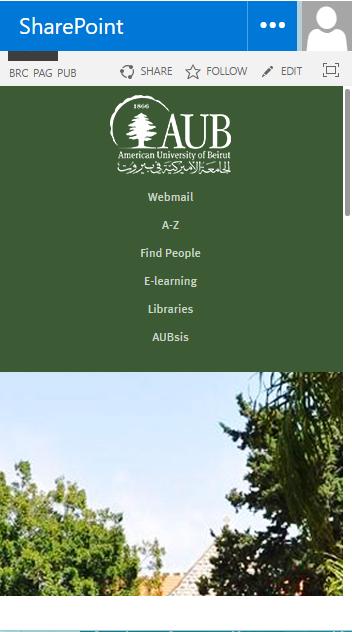AUB SharePoint 2013 responsive site