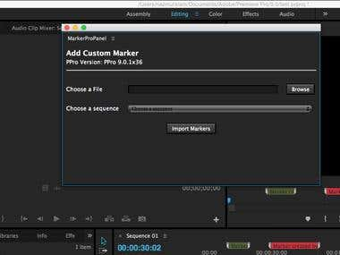 Adobe premiere plugin for creating comment markers