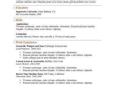 Resume Creation by Microsoft Word