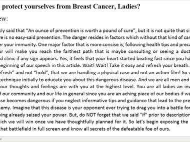 How to Protect Yourselves form Breast Cancer, Ladies.