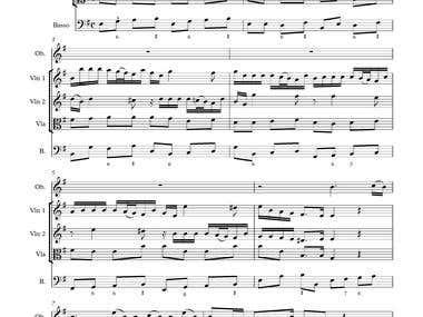 Sibelius note input of Telemann Concerto No. 4