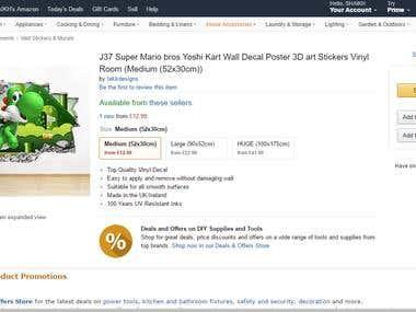 Amazon Product listing