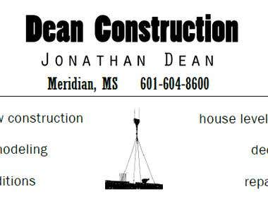 Dean Construction Business Card