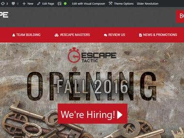 Wordpress website for www.escapetactic.com