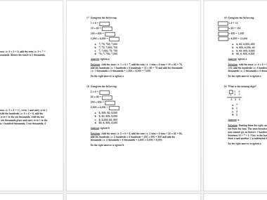 Grade 4 - 6 mathematics questions.