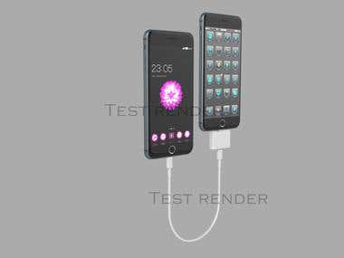 3d phone with concept charger.