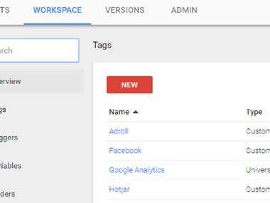 tracking setup in tag manager
