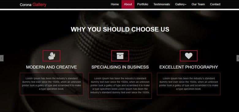 Corona Gallery Responsive HTML Tempale | Freelancer