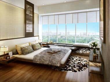 Interior 3D rendering (residencial)