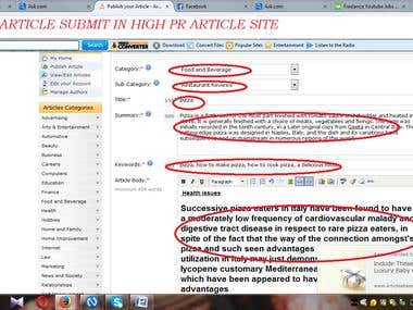 article submit in high pr article site