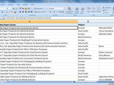 Online research to obtain information for list of companies