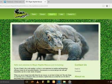 website name as wigan reptile rescue work as php css devlopr
