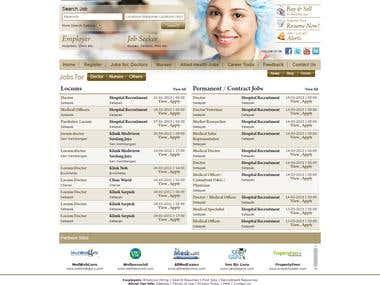 Website designed for 'Healthcare jobs'