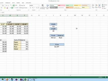 Automated Pricing in Excel