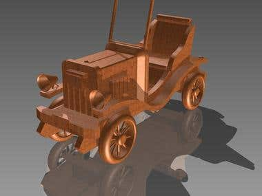 Old car model of wood