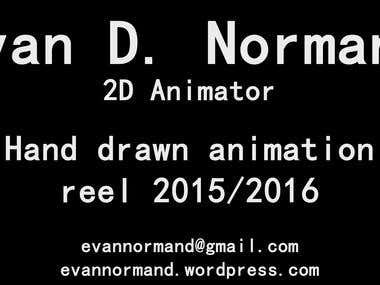 2-D Hand drawn demo reel for 2015/2016