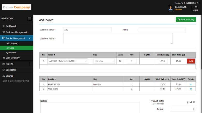 Invoice & Inventory Management System | Freelancer